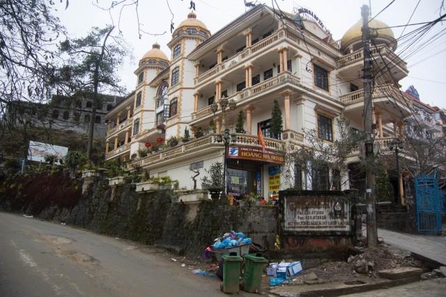 Ornate buildings and Garbage